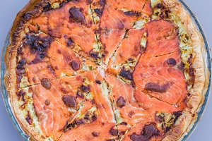 seafood pizza with salmon fish