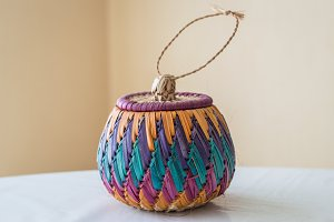 color braided bamboo basket