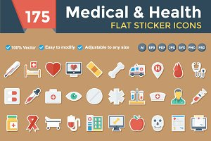 Medical & Health Flat paper icons