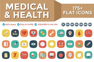 Medical & Health Flat Square Icons