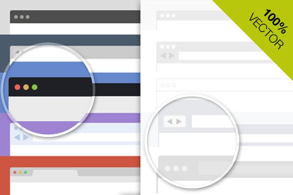 Flat Browser frames PSD Collection ~ Web Elements ~ Creative Market