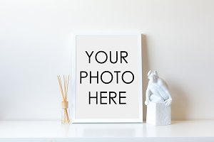White Frame With Statue & Diffuser