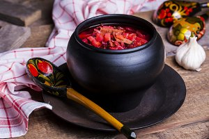 Russian national dish is red borsch