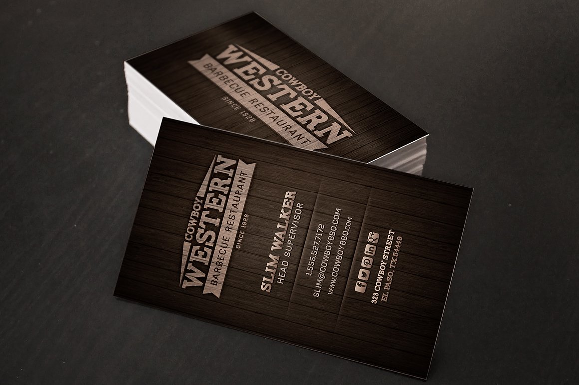 Wood BBQ Business Cards + Logo ~ Business Card Templates ~ Creative ...