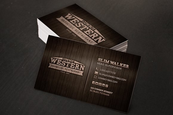 wood bbq business cards logo business card templates creative market - Restaurant Business Card