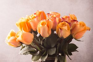 Beautiful yellow roses in vase.