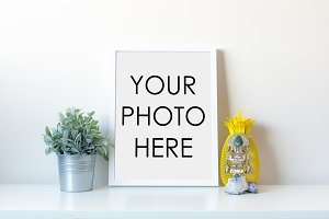 White Frame With Plant And Pineapple