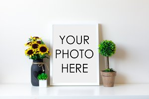 White Frame With Sunflower & Topiary