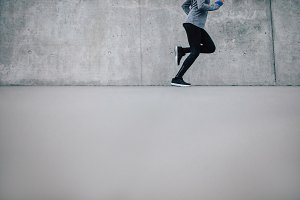 Female runner running