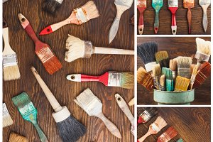 Collection of different paint brushes, wooden background