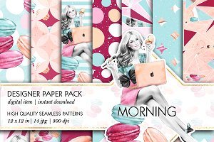 Girl Boss' Morning Seamless Patterns