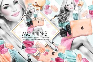 Morning Girl Boss Fashion Clipart