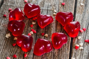 Valentine's day concept - heart shaped sweets on rustic background
