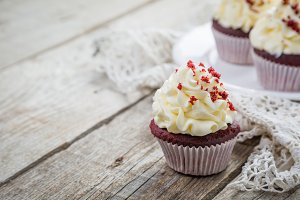 Red velvet cupcakes with buttercream frosting