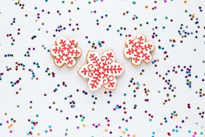 Homemade snowflake cookies