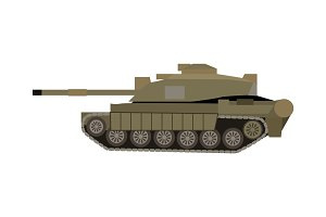 Military Tank Isolated. Armoured Fighting Vehicle