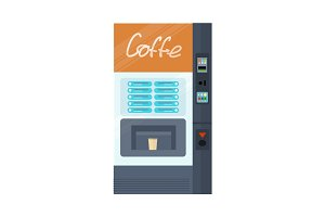 Vending Machine for Coffe. Office Interior.