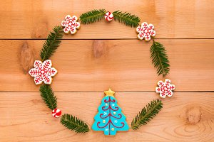 Christmas wreath with cookies