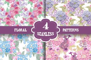 Pastel Floral Seamless Patterns