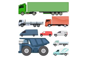 Different cars transport vector set.