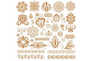 Henna tattoo mehndi flower template vector.