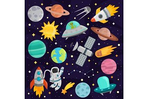 Space cartoon set vector.
