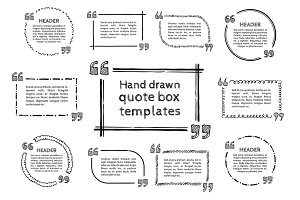 Hand drawn quote boxes set