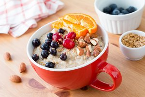 Oatmeal porridge, healthy breakfast