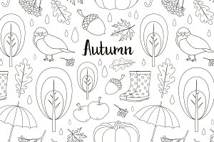 Autumn icon and objects pattern set