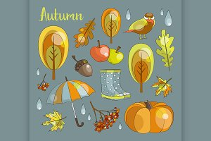 Autumn icon and objects set