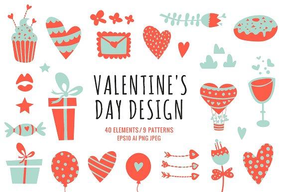 40 Valentine's Day Design Elements