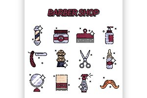 Barber shop flat icons set