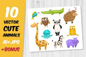 10 cute vector animals set + bonus