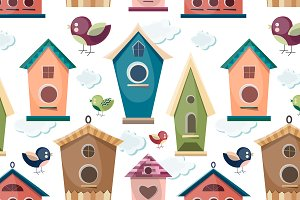 Colored birdhouses set pattern
