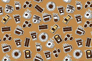 Coffee icons pattern