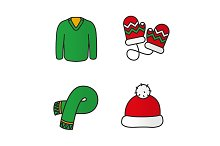 New Year clothes. 4 icons. Vector