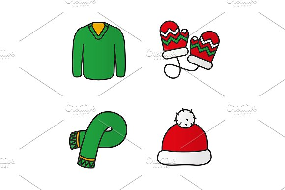 New Year Clothes 4 Icons Vector
