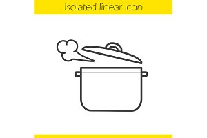 Steaming pot icon. Vector
