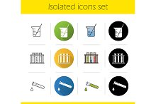 Chemical lab equipment icons. Vector