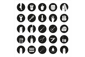 Manicure and pedicure icons. Vector