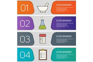 Science laboratory banners. Vector
