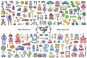 Vector set with toys doodles