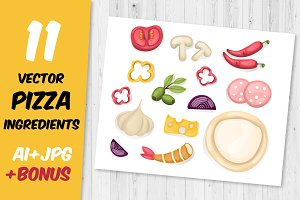11 vector pizza ingredients +Bonus