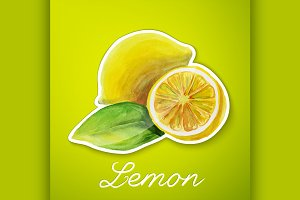 Lemon sticker, watercolor painting