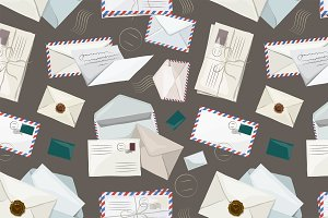 Letters and envelopes pattern