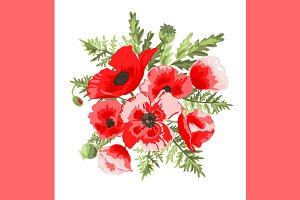Red Poppies Floral Bouquet