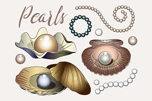 Pearls vector set