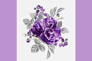 Violet Roses Floral Bouquet