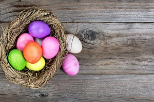 Easter Nest with Colorful Eggs
