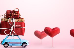 Retro toy car with Valentine heart